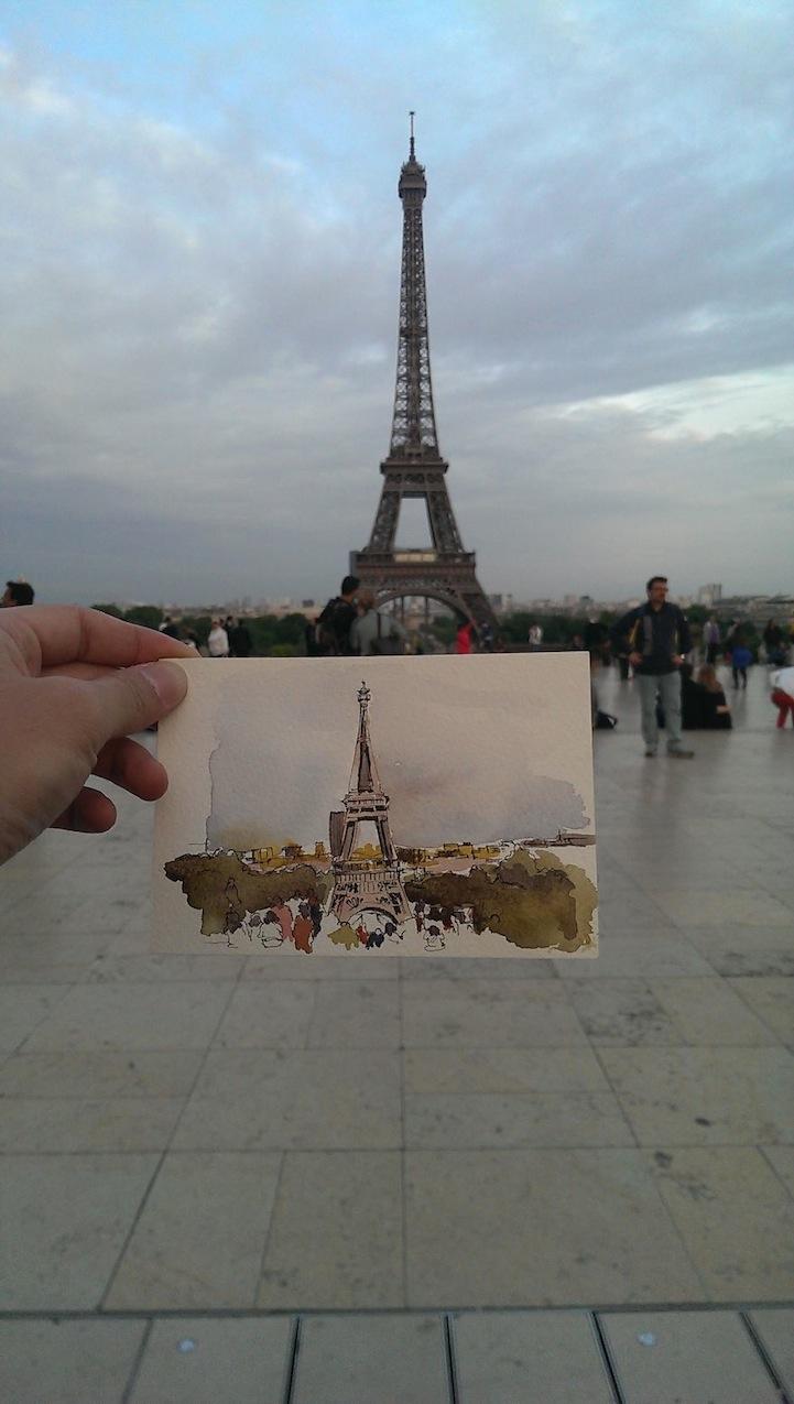 Umelec Kreslici Prirozene Sceny Pri Cestovani Po Celem Svete