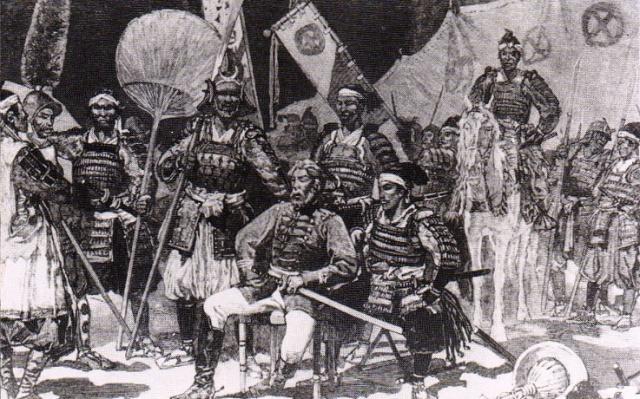 Saigō Takamori obklopen důstojníky během Satsumova povstání