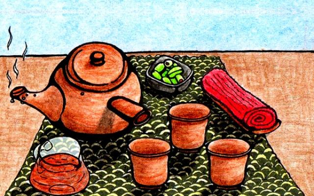 čaj, stolování v Sushi noodles restauraci
