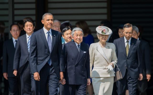 Císař Akihito a císařovna Mičiko, princ Naruhito s prezidentem Obamou
