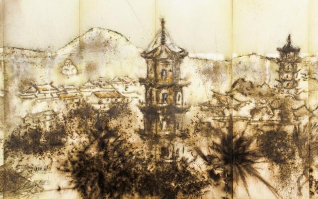 """Obraz """"Domovina"""" od Cai Guoqianga (pro zobrazení celku klikněte na obrázek)"""