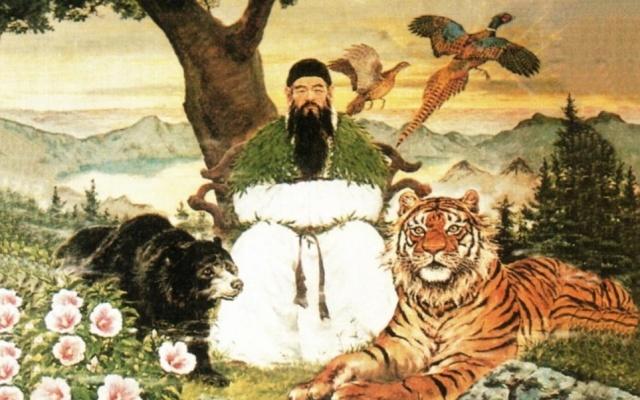 Moderní náboženská malba, ukazující prvního krále Ko Čosonu - Dangun Wanggeom