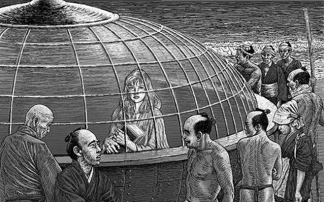 Ilustrácia Utsuro Bune a cudzinka