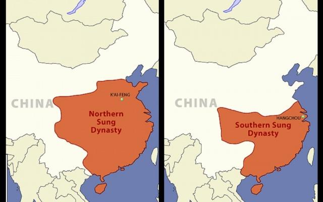 Mapa územia počas dynastie Sung