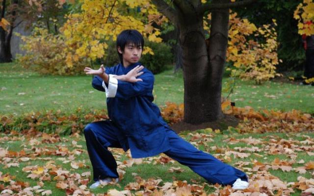 Mistr Qin Fei při cvičení
