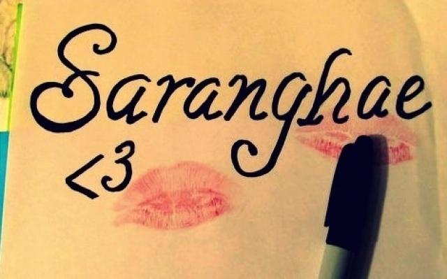 """Saranghae"" = ""Miluji tě"" korejsky"
