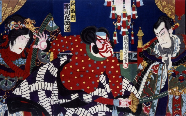 Kabuki theater poster: battles of Coxinga by Yoshu Chikanobu