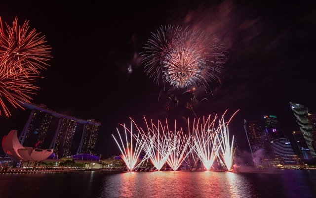 ilustrační foto: ohňostroj v Singapuru