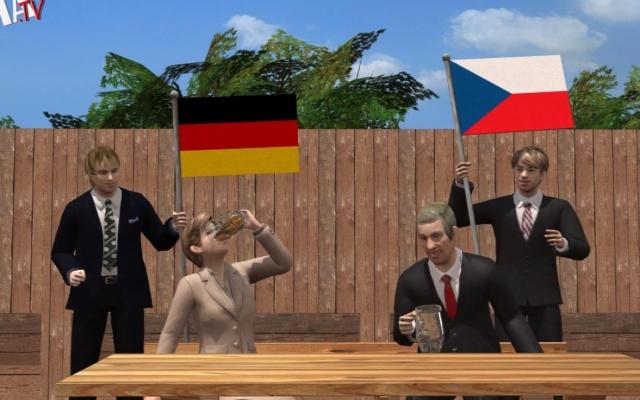 Miloš Zeman popíjí s Angelou Merkelovou