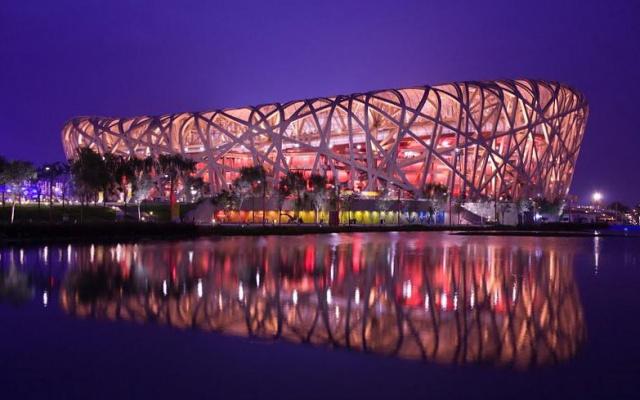 """Stadion """"Bird′s nest"""", jedno z hlavních dějišť ZOH v Pekingu 2022"""