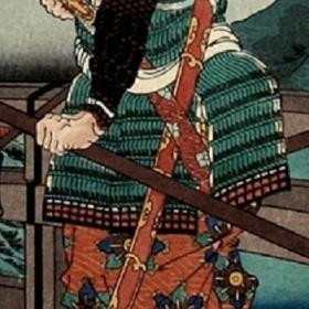 Samuraj s mečem nodachi na zádech